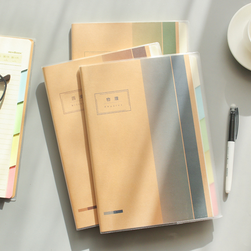 1pcs Notebook students English thickened 16K plastic sleeve B5 student subject index notebook Small clear notepad notebook season b5 18k26