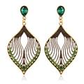 Ethnic Style Red/Green Austrian Crystal Leaf Dangle Earrings Fashion Statement Jewelry Drop Earrings Bohemia Girls Bijoux Gift