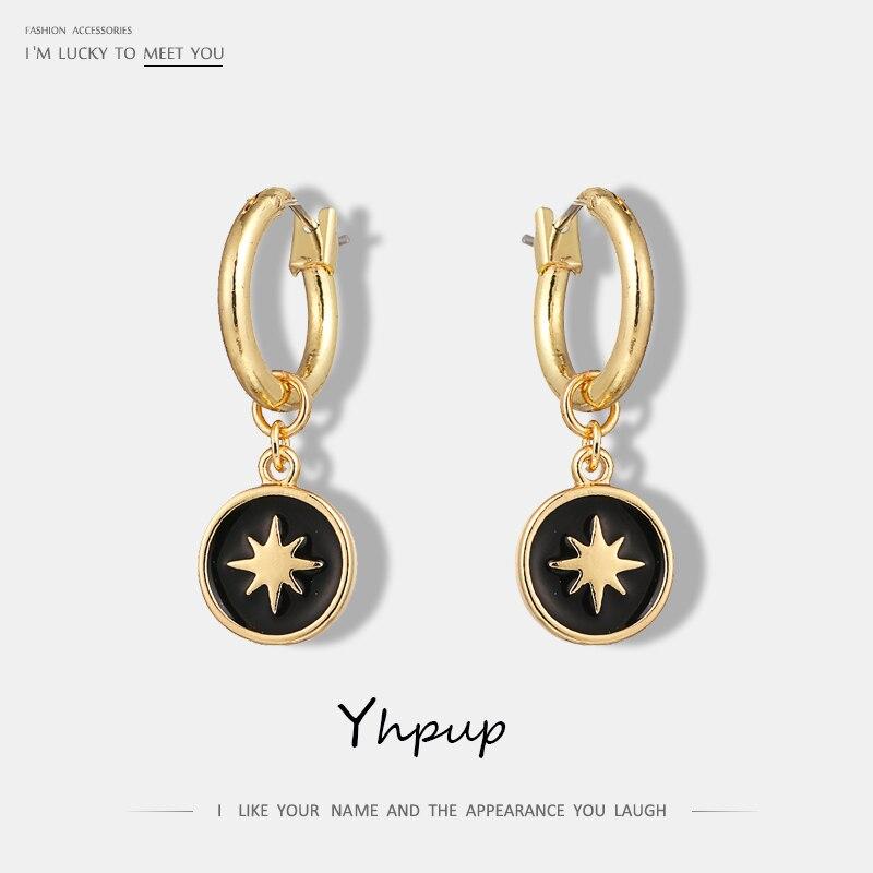 Yhpup Vintage Star Sun Enamel Round Geometric Dangle Earrings Ethinc Statement Jewelry Trendy Earrings For Women Christmas Gifts(China)