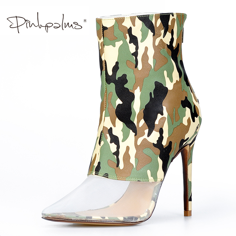 Pink Palms Shoes Women Spring Autumn Shoes Camouflage Pu with Mesh Design 12cm High Heels Trending