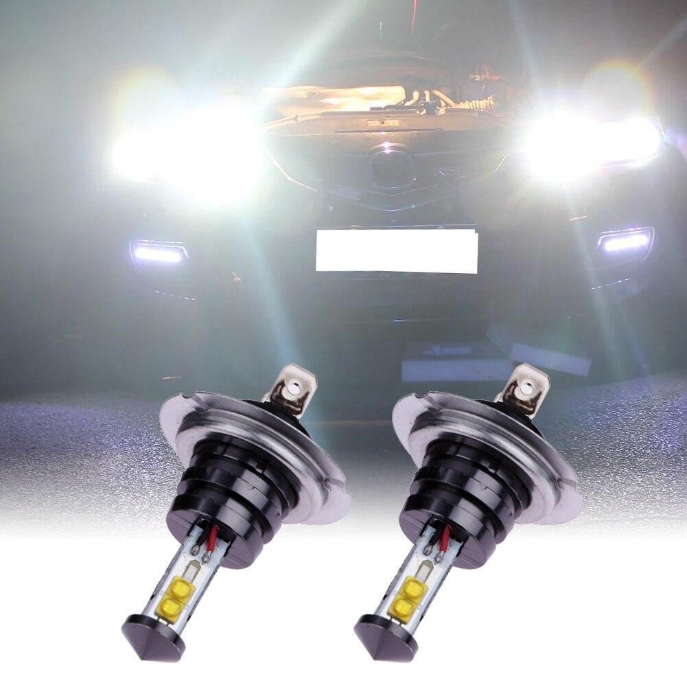2 X H7 20W 4SMD Car Headlights High Power LED Fog Lamp Headlamp 720LM Auto Front Bulb 6000K Car Lighting ME3L