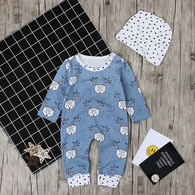3pcs/Set Spring Autumn Winter Baby Infant Boy Girl Suit Blue Cute Bear Print Long Sleeve Romper+ Long Pants +Dot White Cap j3