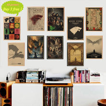Game Of Thrones Movie TV Vintage Kraft Paper Poster Bar Cafe Complementi Arredo Casa Autoadesivo Della Parete Della Pittura(China)