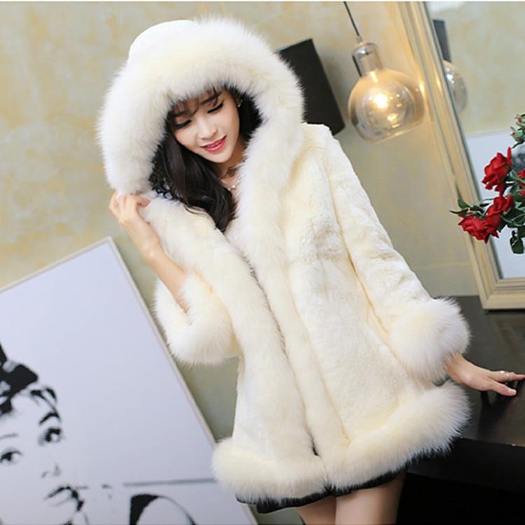 2018 manteau de fourrure de lapin faux de luxe femmes manteau d'hiver à capuche col de fourrure de renard fourrure moyen-long dame pardessus fourrure femmes manteau
