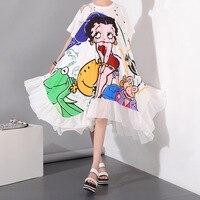 2016 Summer New Brand Fashion Cartoon Long Dress Girls Dress Printed Loose Big Pendulum Plus Size