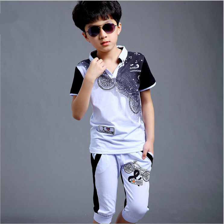 Boys Fashion təsadüfi idman kostyumu geyim dəsti Motosiklet çap - Uşaq geyimləri - Fotoqrafiya 5