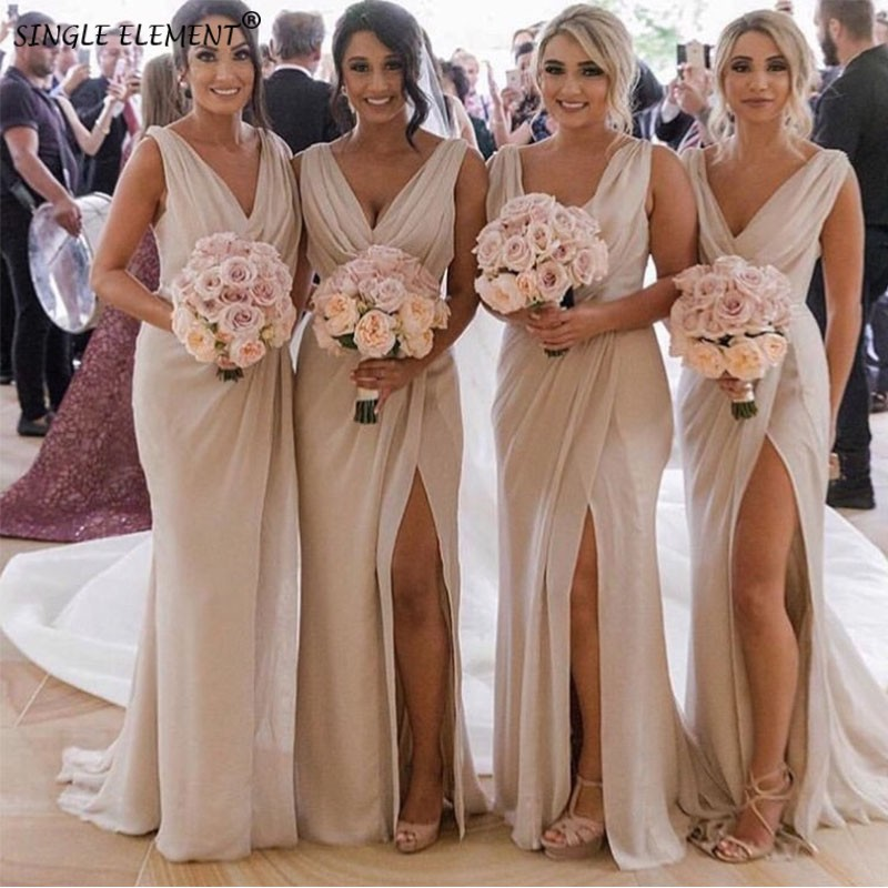 Fashion A Line Side Split Maid of Honor Wedding Party Gowns Chiffon   Bridesmaid     Dress