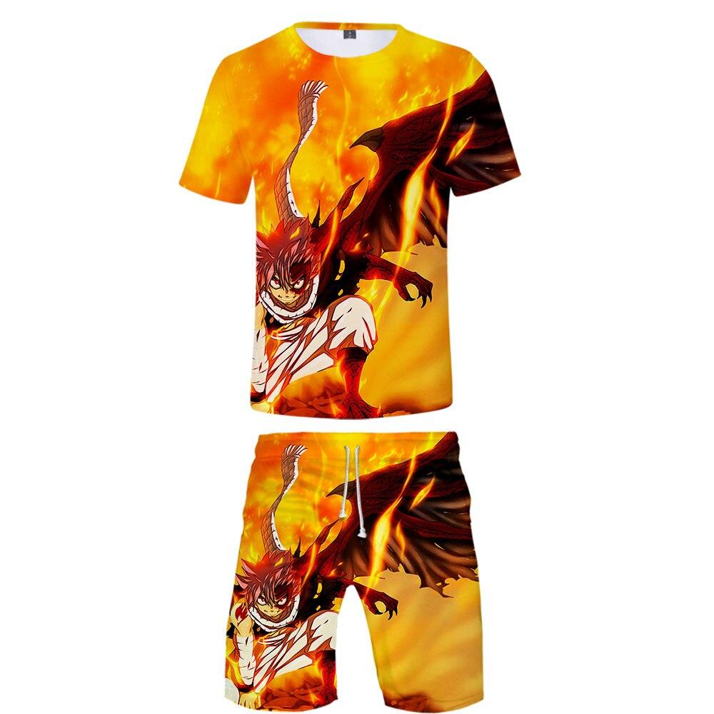 2019 New Fairy Tail 3D Print Casual Cool Man 2 Set Summer Popular Hip Hop Fashion High Street Baseball Shirt+Short Pants Sets