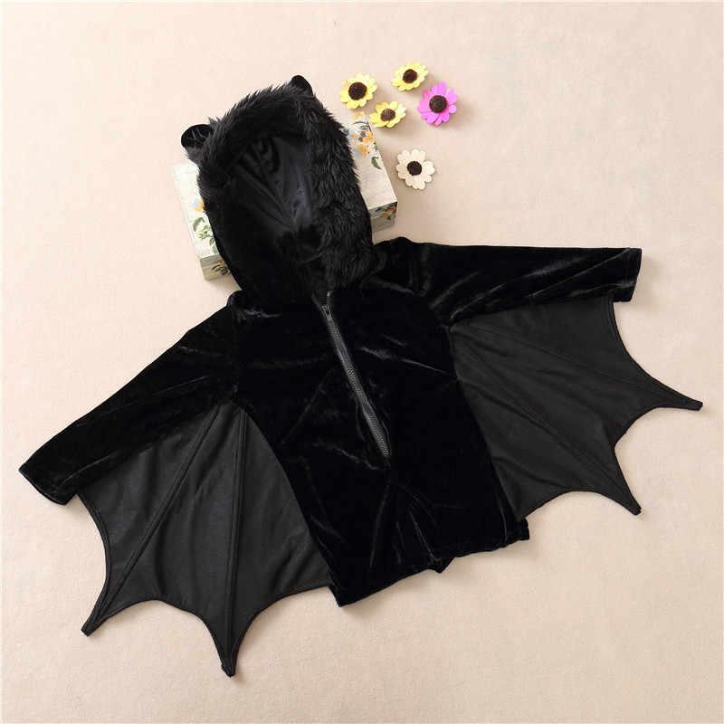 Новинка детские маскарадные костюмы симпатичный костюм летучей мыши детские костюмы на Хэллоуин для девочек черный комбинезон на молнии со съемными крыльями костюм Бэтмена