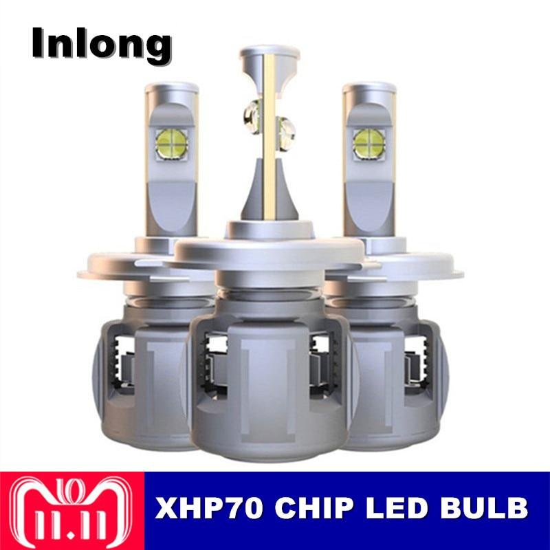 цена на Inlong 2Pcs X70/XHP70 H4 H7 Car LED Headlight Bulbs H11 9005 9006 HB4 D1S D2S D3S D4S Cree Chips 120W 15600LM Headlamp Fog Light