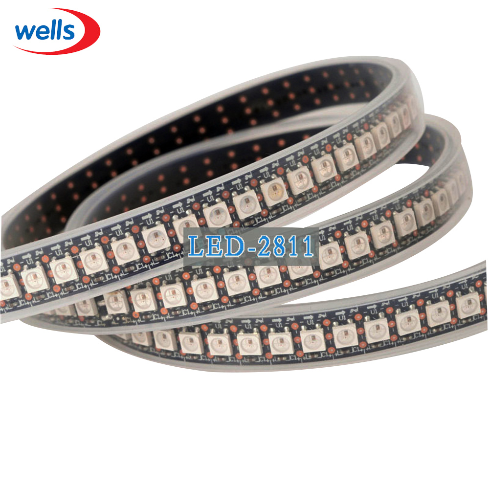 1m LEDs WS2812B Smart Full Color WS2811 IC Digital 5050 SMD RGB WS 2812b LED 144 Pixels Strip DC5V Waterproof