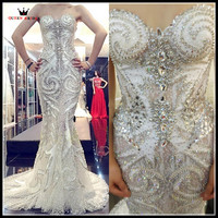 Custom Made Luxury Mermaid Wedding Dresses Sweetheart Crystal Beaded Diamond Sequins Wedding Gowns Sexy 100% Real Photo EV01S