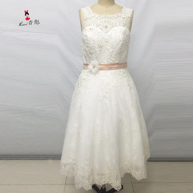 Vintage Short Wedding Dress Lace Beaded Vestido de Noiva Curto Knee ...