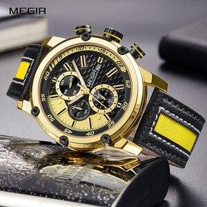 Image 4 - MEGIR montre bracelet de sport en cuir pour hommes, mode chronographe, étanche, analogique, à Quartz, 2079GDBK