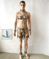 7 unids/set Acero inoxidable BDSM bondage castidad masculina dispositivo (cinturón de castidad pantalones + cuello + sujetador + mano tobillo puños + plug anal + Anillo del muslo