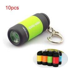 10pcs mini led USB Torch Flashlight Penlight keychain Mini-T