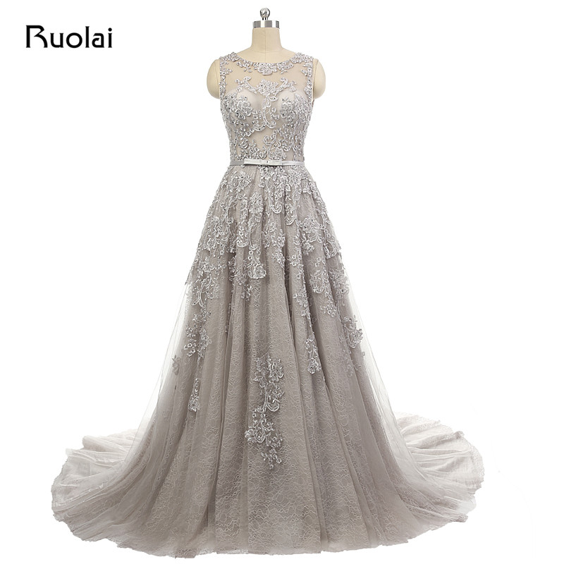 Real Photo Elegant Deep V-Neck Low Back Tulle Appliques Beaded Court Train Long   Evening     Dresses   Party Prom   Dresses   ASAFN4