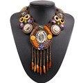 2017 new design de moda vintage tibetano botão big chunky declaração bib bead tassel pingente choker colar colar para as mulheres