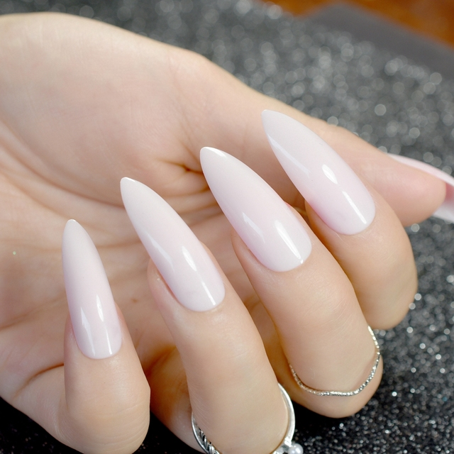 24Pcs Long Stiletto Nails Natural White Pointed False Nail Acrylic ...