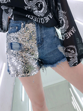 Thailand Tide Brand 2019 Spring New Heavy Work Sequins Grinding Hole Hairline Denim Shorts Women Wild Casual Hot Pants