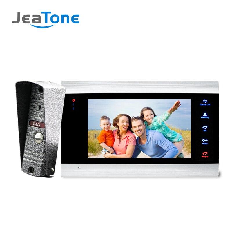 JeaTone Novo 7 polegada Monitor De Vídeo Campainha Sistema de Interfone Com 1200TVL IP65 Intercomunicador Do Telefone Da Porta Da Câmera Ao Ar Livre