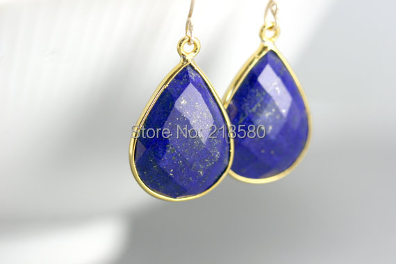 SER-1007 Teardrop Stone Earrings, Lapis Lazuli  Dangle Earrings, Gold Or Silver Bezel Earrings