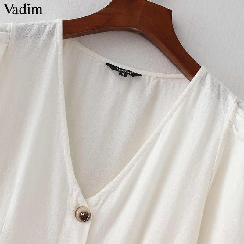 Vadim женское сексуальное платье миди с v-образным вырезом, с карманами и пуговицами, с коротким рукавом, плиссированные Женские повседневные брендовые шикарные платья, vestidos QZ3650