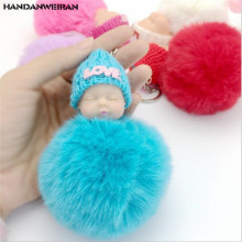 NEW 1PCS KAWAII cute doll hair ball pendant 11CM plush Keychain bag gift Kids Party Birthday toys