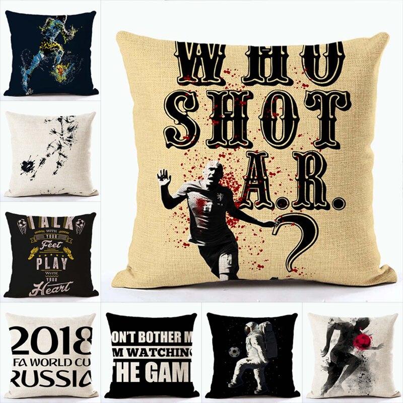 2018 Football Game Decorative Cotton Linen Cushion Cover Football Printed Sofa Throw Pillow Car Chair Home Decor Wholesale
