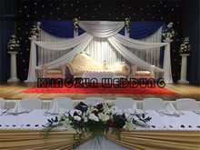 White Backdrop font b Curtain b font Stage Background With Royal Blue And Silver Drape Swag