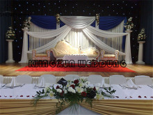White Backdrop Curtain  Stage Background With Royal Blue And Silver Drape Swag For Wedding Decoration