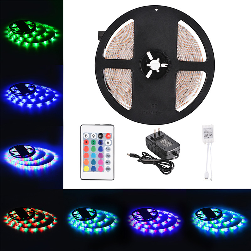 AKDSteel RGB LED Strip 5M 300LED Strip Light Waterproof Ribbon Tape with Adhesive Tape 24 Key Remote Control Power Supply