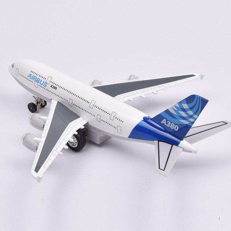 Alloy Air Plane(#51503) L=20Cm Die Cast Toys Plane Model A380  W/Light & Music Pull Back Power Qualify Toys
