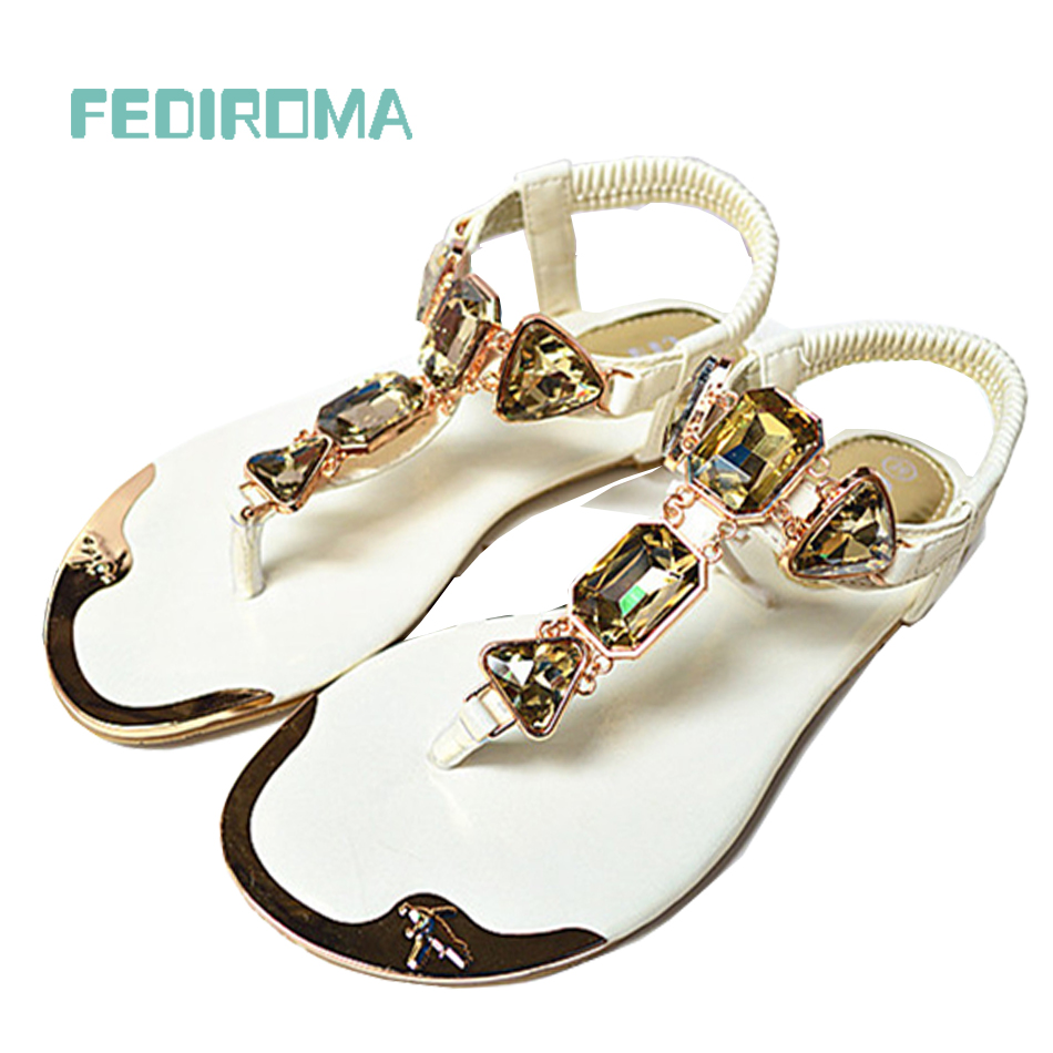 (35-42 yards) free shipping 2014 new summer sandals rhinestone thong sandals women sandals large size metal head