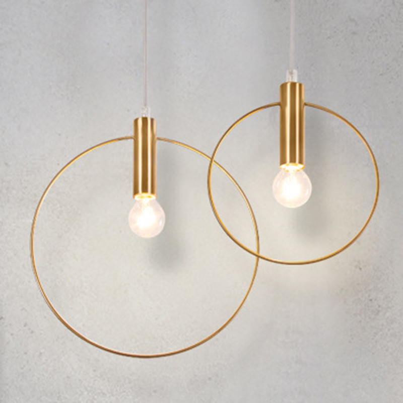 Modern personality Simple Chandelier Ring Art Deco Lighting Antique Gold Pendant Lobby Restaurant Single Chandelier E14 Light led gold deco chandelier bulbs candle light e14 85 265v 5w lamps
