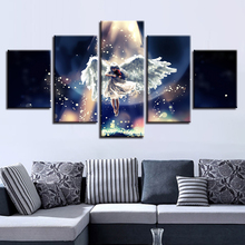 Wall Art Modular Canvas Pictures Poster HD Print 5 Pieces Angel Girl Play The Violin And Moon Night View Paintings Decor Bedroom майка борцовка print bar girl and moon
