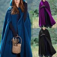 Cloak Hooded Coat Women Vintage Gothic Cape Coat Long Trench Overcoat Women Solid Costume Cloak Clothes