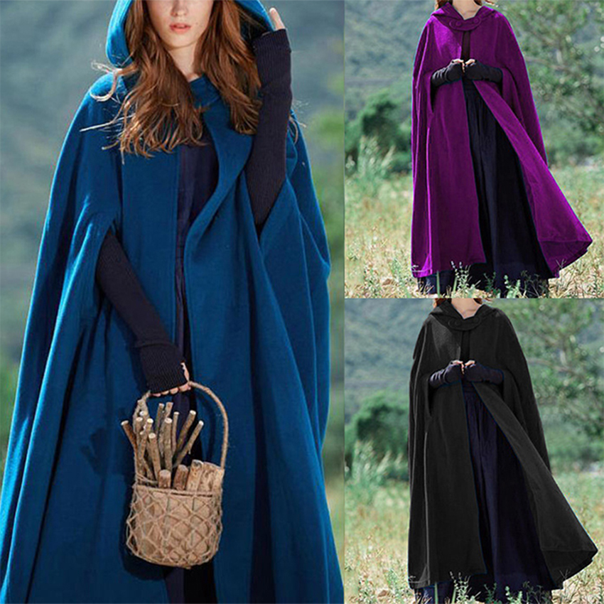 Medieval Cloak Hooded Coat Women Vintage Gothic Cape Coat Long Trench Overcoat Women Halloween Cosplay Costume Cloak Clothes