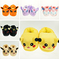 Pokemon Go Pikachu Slippers Adult Cotton Home Plush Slippers Winter Warm Shoes Indoor Christmas Halloween Indoor Slippers