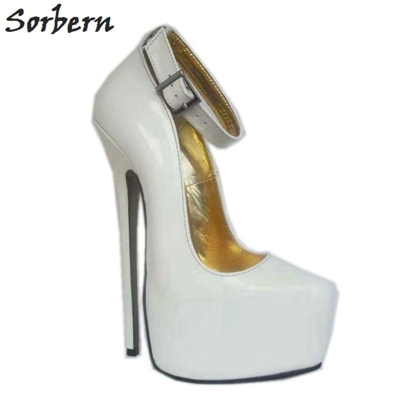 Sorbern/лакированные белые женские туфли лодочки с ремешком на щиколотке; женские туфли с острым носком на каблуке 8 дюймов; размеры 45; женские туфли лодочки на очень высоком каблуке