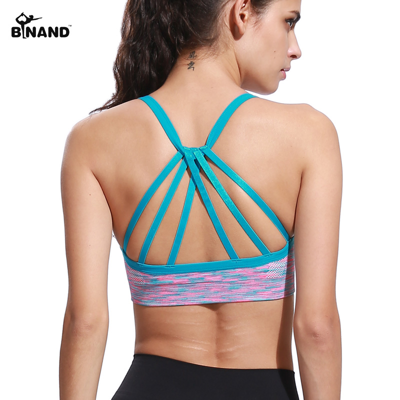 BINAND Women Dyed Strap Backless Sports Bra Gym Fitness Yoga Bra Training Shirts Running Shakeproof Underwear Seamless Top
