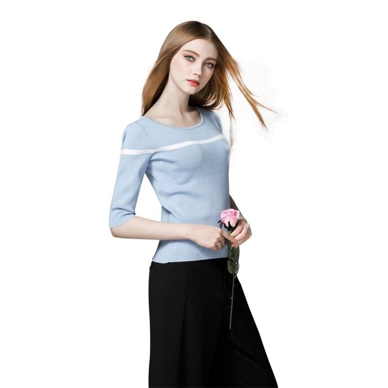 Suéteres de otoño Invierno de Las Mujeres Media Manga Femenina Suéter Suéteres de Lana Camisetas Básicas