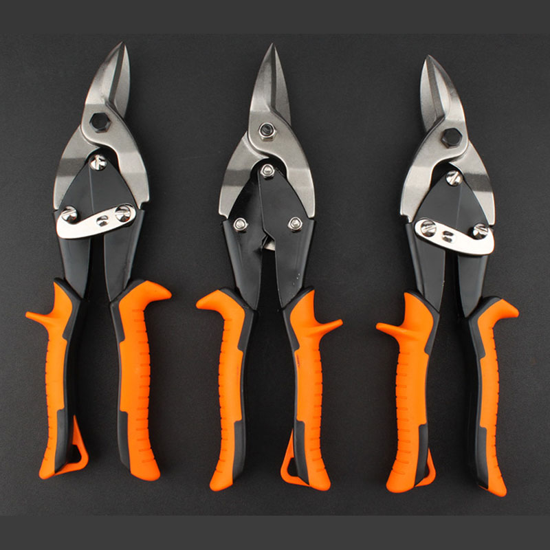 Left/right/straight Cutting Scissors TPR Handle Chrome vanadium Steel Metal Plate Cutting Alloy Hand Tools Aviation Scissors
