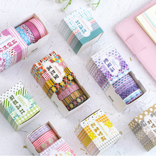 5 Pcs/Box Checkered Stripes Washi Tape Decorative Adhesive Tape DIY Scrapbooking Sticker Label Masking Tape new 1x fresh floral washi tape diy decorative scrapbooking masking tape adhesive label sticker tape stationery