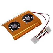 """3.5 """"жесткий диск HDD двойной вентилятор охлаждения Cooler золотой тон для настольных ПК"""