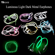 Hot Sale Luminous Glow Light Metal Zipper Earphones with Mic Wired Noise Cancelling Stereo 3.5mm Special earbuds for Smart phone