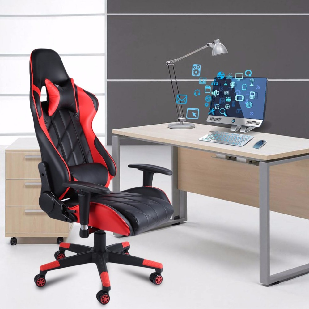 Home Office Computer Desk Gaming Chair Height Adjustable 360 Degree Rotation Recliner Racing Chair With Headrest