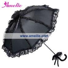 Черный цвет Готический кружевной зонтик черные свадебные мужские вечерние зонты от солнца