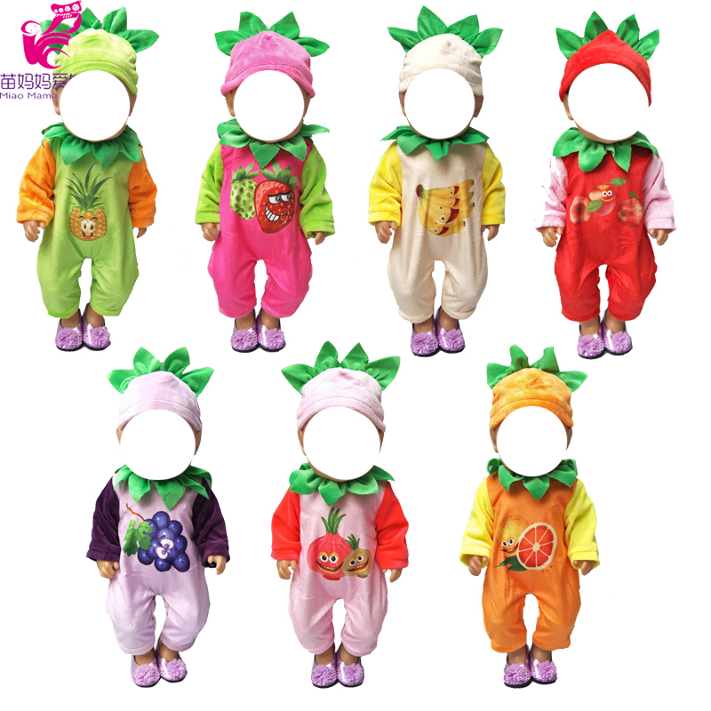 43cm Baby doll cartoon fur clothes cute fruit series jumpsuit for 18 quot girl dolls outfits in Dolls Accessories from Toys amp Hobbies