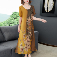2019 Summer Fake Silk Women Dress High Quality Plus Size Elegant Vintage Print Floral Party Dresses Robe Loose Midi Clothing недорого